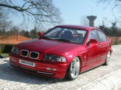 Bmw 328 E46  tuning rouge candy et jantes chromes Welly