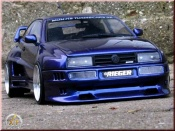 Volkswagen tuning Corrado VR6 kit carrosserie rieger bleu jantes bords larges