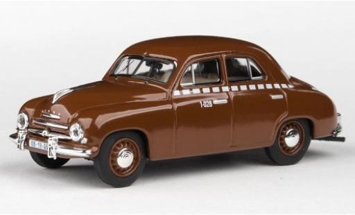 Skoda 120 1/43 Abrex 1 marrone/Dekor Taxi 1956 modellino in miniatura