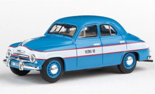 Skoda 120 1/43 Abrex 1 matt-azul/Dekor Hlidka VB 1956 police Tschechien coche miniatura