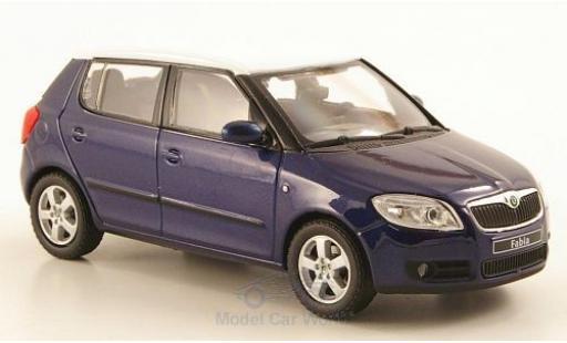 Skoda Fabia 1/43 Abrex II metallise bleue/blanche 2006 miniature