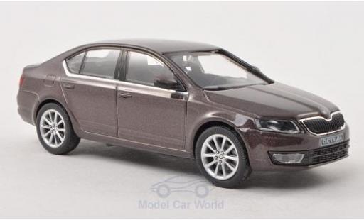 Skoda Octavia 1/43 Abrex III metallise marron 2013 miniature