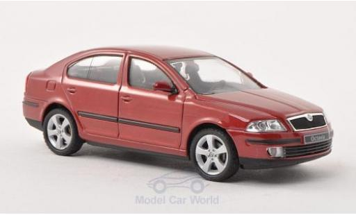 Skoda Octavia 1/43 Abrex metallise rouge 2004 miniature