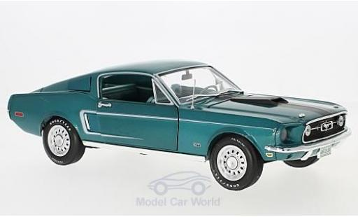 Ford Mustang GT 1/18 Auto World 2+2 metallise turquoise 1968 miniature