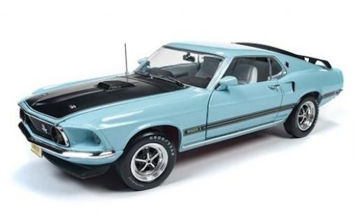 Ford Mustang 1/18 Auto World Mach 1 bleue/noire 1969 miniature
