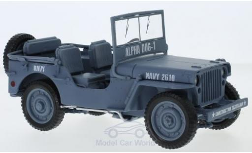 Jeep Willys 1/18 Auto World MB grise 1941 Navy miniature