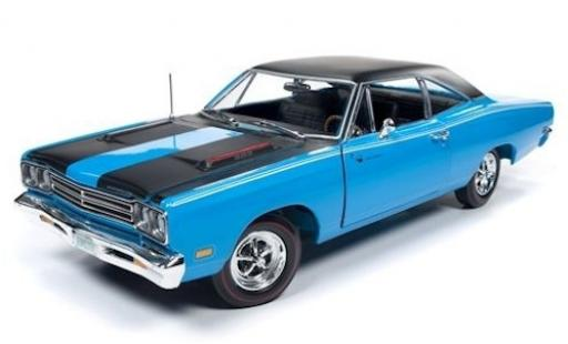 Plymouth Road Runner 1/18 Auto World bleue/noire 1969 miniature