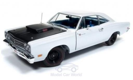Plymouth Road Runner 1/18 Auto World blanche/matt-noire 1969 miniature