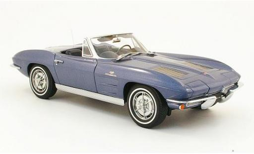 Chevrolet Corvette 1/18 AUTOart Convertible metallise blue 1963 diecast model cars