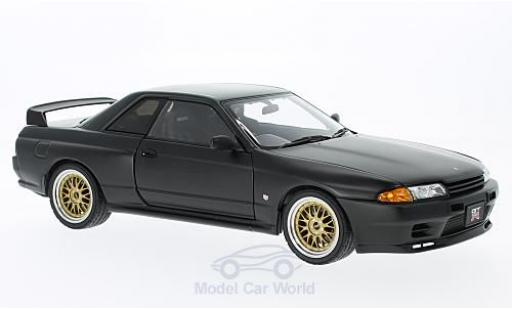 Nissan Skyline 1/18 AUTOart GT-R (R32) matt-negro RHD Tuned Version ohne Vitrine coche miniatura