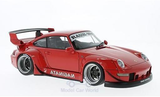 Porsche 993 RWB 1/18 AUTOart 911  rouge Rauh Welt grisee Felgen miniature