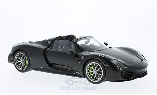 Porsche 918 2013 1/18 AUTOart Spyder metallise noire miniature
