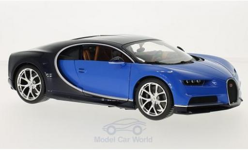 Bugatti Chiron 1/18 Bburago metallise bleue/bleue miniature