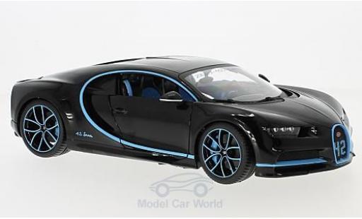Bugatti Chiron 1/18 Bburago black Zero-400-Zero diecast model cars