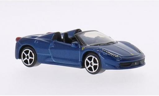 Ferrari 458 1/64 Bburago Spider metallise blue diecast model cars