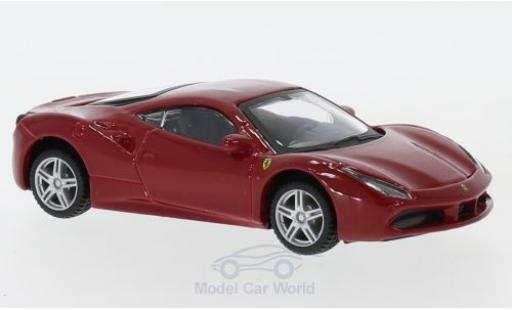 Ferrari 488 1/43 Bburago GTB rouge/blanche pull-back miniature