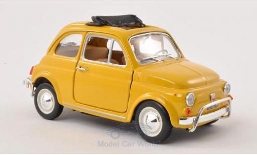 Fiat 500 1/24 Bburago L yellow 1968 geöffnetes Faltdach ohne Vitrine diecast