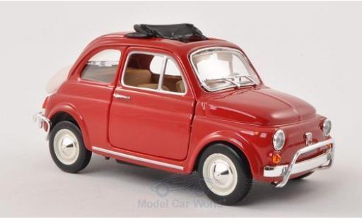 Fiat 500 1/24 Bburago L red 1968 geöffnetes Faltdach diecast