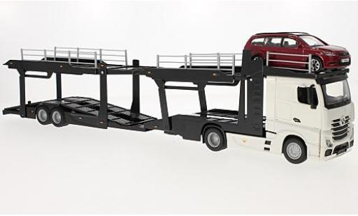 Mercedes Actros 1/43 Bburago 2545 blanche camion de transport de voiture avec Ford Focus Turnier miniature