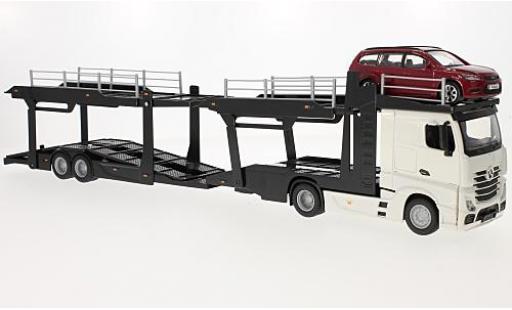 Mercedes Actros 1/43 Bburago 2545 weiss camion de transport de voiture avec Ford Focus Turnier modellautos