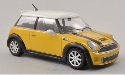 Mini Cooper 1/24 Bburago S jaune/blanche ohne Vitrine miniature