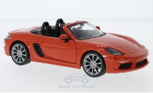 Porsche Boxster 1/24 Bburago 718 orange miniature