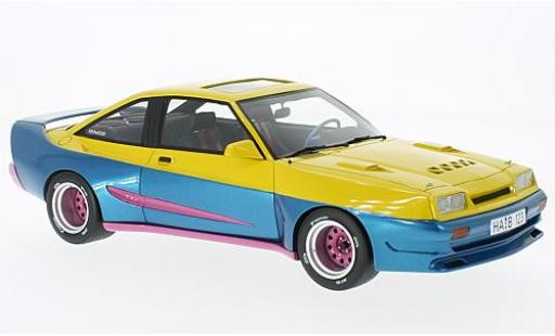 Opel Manta 1/18 BoS Models B Mattig yellow/blue 1991 avec Glashubdach diecast model cars
