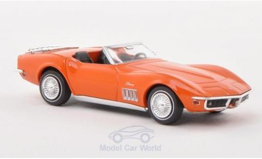 Chevrolet Corvette 1/87 Brekina C3 Cabrio mit Gepäckträger orange miniature
