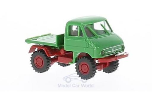 Mercedes Unimog 1/87 Brekina 411 green/red mit Plattform diecast model cars