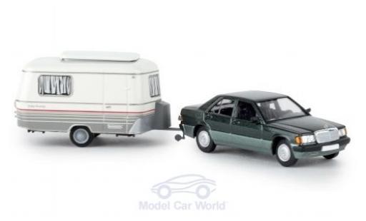 Mercedes 190 1/87 Brekina Starmada E métallisé verte 1988 mit Eriba Wohnwagen miniature