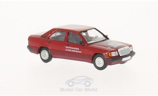 Mercedes 190 E 1/87 Brekina Starmada (W201) rouge Elektroantrieb miniature