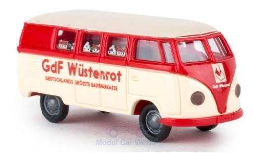 Volkswagen T1 B 1/87 Brekina a Bus Bausparkasse Wüstenrosso miniatura