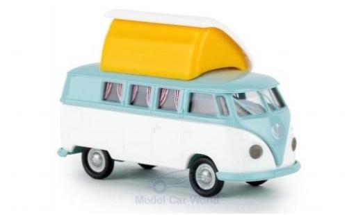 Volkswagen T1 1/87 Brekina b Camper turquesa/blanco mit Dormobildach offen miniatura