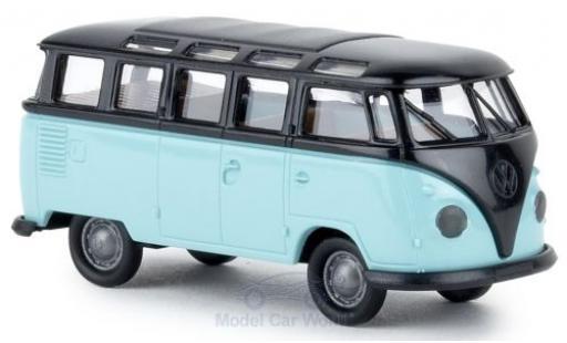 Volkswagen T1 1/87 Brekina b Samba black/turquoise diecast model cars