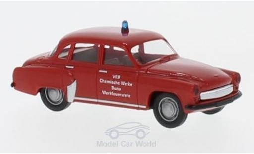 Wartburg 311 1/87 Brekina Werkfeuerwehr Buna miniature
