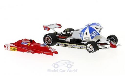 Ferrari 126 1982 1/43 Brumm C2 Turbo No.28 Formel 1 GP San Marino mit Rennfahrer und Schirm D.Pironi diecast model cars
