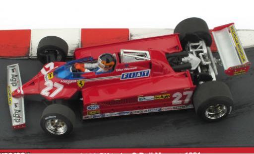 Ferrari 126 1/43 Brumm CK turbo No.27 Scuderia Formel 1 GP Monaco 1981 Minidiorama in Emballage sp�cial G.Villeneuve coche miniatura