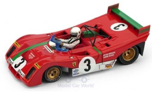 Ferrari 312 1/43 Brumm PB RHD No.3 Targa Florio 1972 A.Merzario miniature