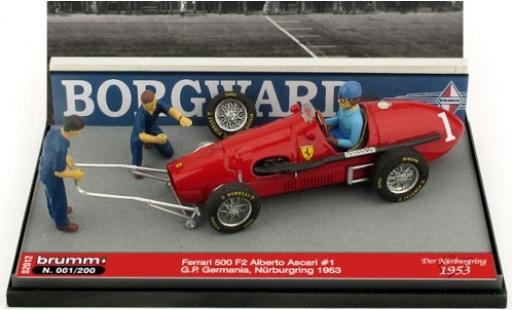 Ferrari 500 1/43 Brumm F2 No.1 Scuderia GP Deutschland 1953 avec figurines in Emballage sp�cial A.Ascari modellautos
