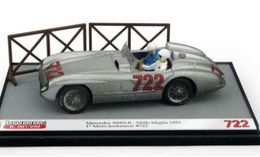 Mercedes 300 1/43 Brumm SLR No.722 Mille Miglia 1955 Moss Collection avec figurines S.Moss/D.Jenkinson diecast model cars