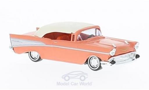 Chevrolet Bel Air 1957 1/87 Busch Cabrio pink/white diecast model cars