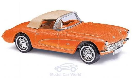 Chevrolet Corvette 1/87 Busch C1 Convertible mettalic orange 1956 mit Softtop modellautos