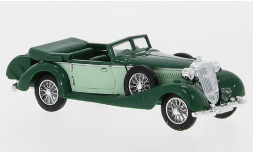 Horch 853 1/87 Busch Cabriolet green/green mit Gepäckkoffer diecast
