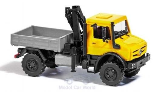 Mercedes Unimog 1/87 Busch U 5023 yellow 2014 mit Ladekran diecast model cars
