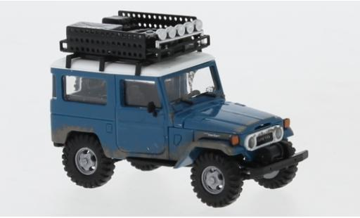 Toyota Land Cruiser 1/87 Busch J4 blue/white 1960 avec Rack de toit et traces d Offroad diecast model cars