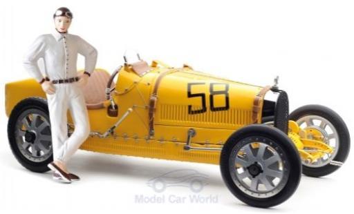 Bugatti 35 1/18 CMC T Grand Prix jaune No.58 mit Frauen-Fahrerfigur miniature