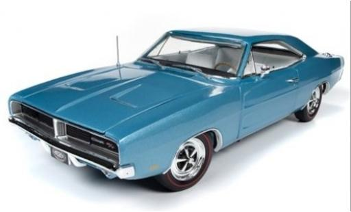 Dodge Charger 1/18 Ertl R/T metallise bleue/blanche 1969 miniature