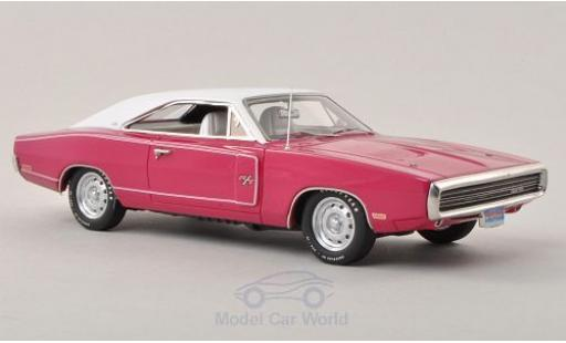Dodge Charger 1970 1/43 Ertl R/T rose/blanche miniature