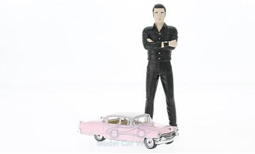 Cadillac Fleetwood 1/64 Greenlight Series 60 rose 1955 mit Elvis Figur in 1:18 ohne Vitrine miniature