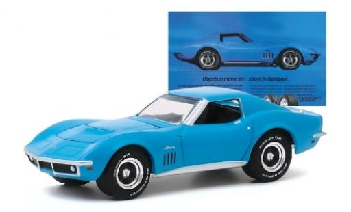 Chevrolet Corvette 1/64 Greenlight C3 blu 1969 modellino in miniatura